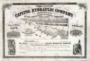 Capitol Hydraulic Company incorporated by the Legislature of Kansas Territory, Feb. 11th, 1860 : this certifies that...