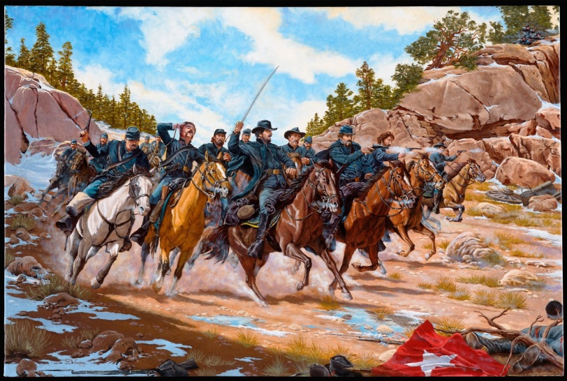 Action at Apache Canyon painted by Domenick D'Andrea