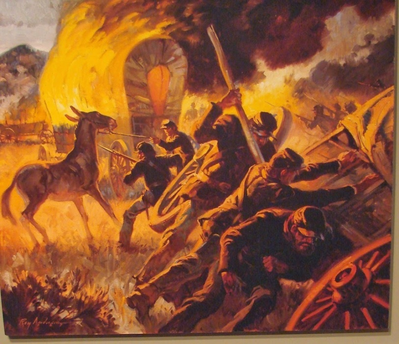 Burning of Wagon Train at Apache Canyon. Painted by Roy Anderson