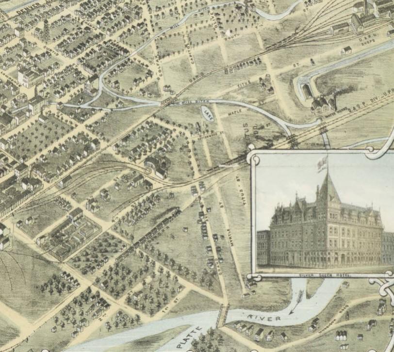 Bird's eye view of the city of Denver Colorado 1882 West ZOOM 2