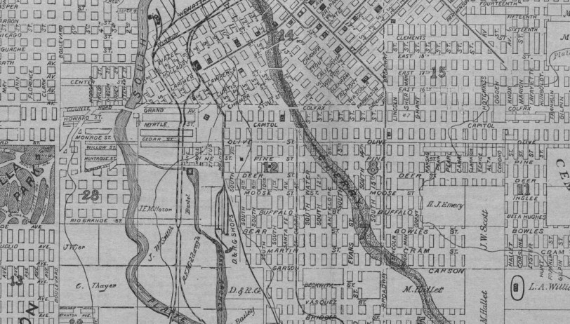 Latest Map of the City of Denver 1882 Zoom