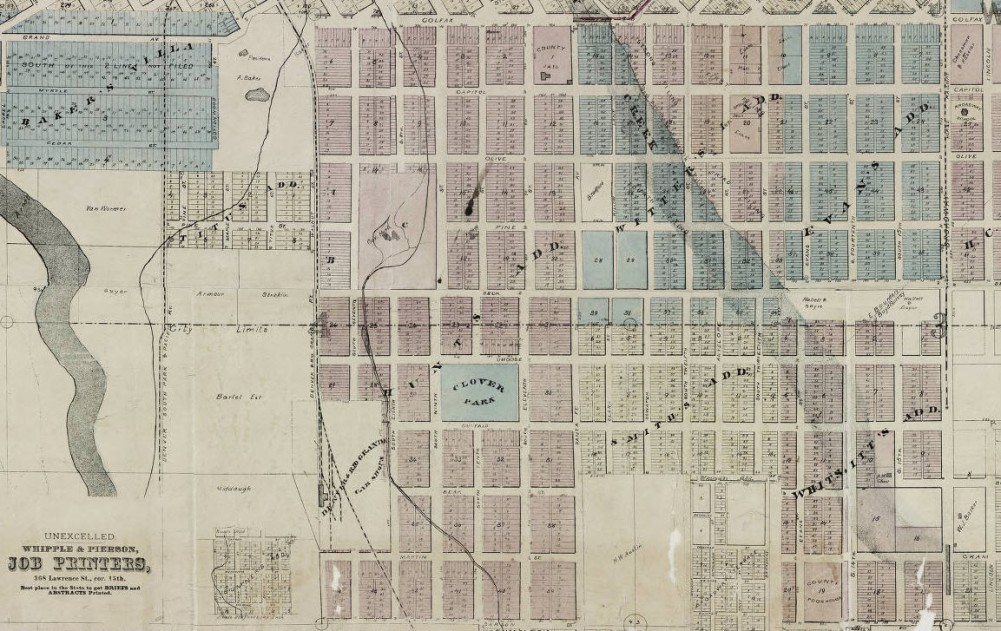 Map of Denver, the capital of Colorado : compiled from the official records. Willits, W. C. (Warren C.) 1878. Courtesy of DPL, Western History Collection CG4314.D4 1878.W5