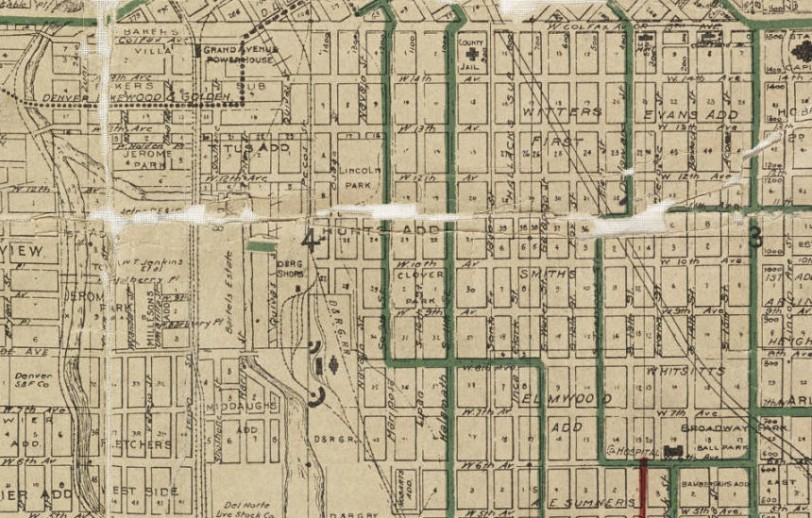 (Zoomed) Map of the city of Denver, showing the lines of the Denver City Tramway Co--also the terminal properties of the Northwestern Terminal Railway Co. known as the Moffat Road Terminals. Beeler, E. M. (Edwin M.) Date taken from text material at top of map which cites franchise results of the city election of May 15, 1906. Courtesy DPL, Western History Collection CG4314.D4 1906.B3