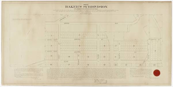 Map of Bakers Subdivision of lands in the City of Denver. ColoradoCourtesy DPL, Western History Collection CG4314.D4  1886.B3