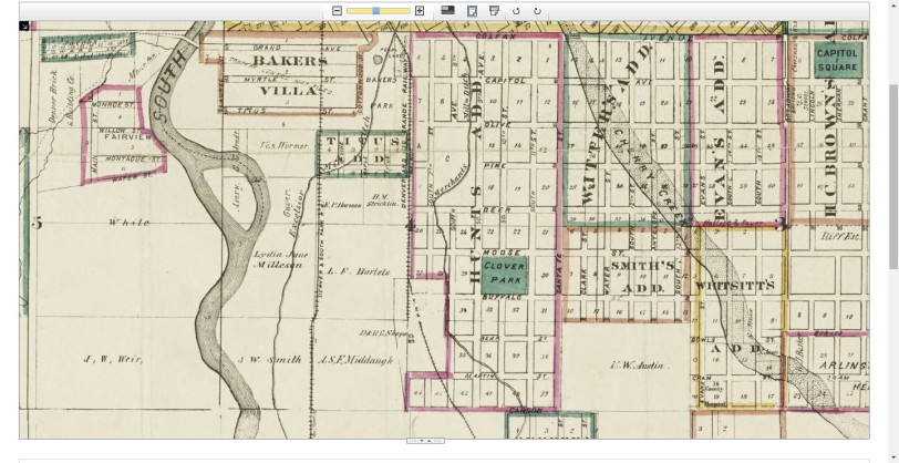 Thayer's map of Denver, Colorado 1879. Courtesy DPL Western History Collection CG4314.D4 1879.T49