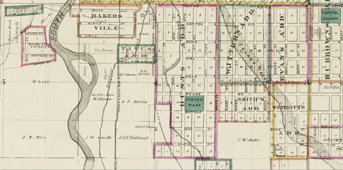 Thayer's map of Denver, Colorado 1879 | AcrosstheCreek on