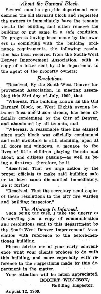About the Barnard Block, City has Building Condemned from Denver Municipal Facts: Volume 1 Number 29, 1909 September 4. Courtesy DPL Western History Collection C352.078883 D4373mu