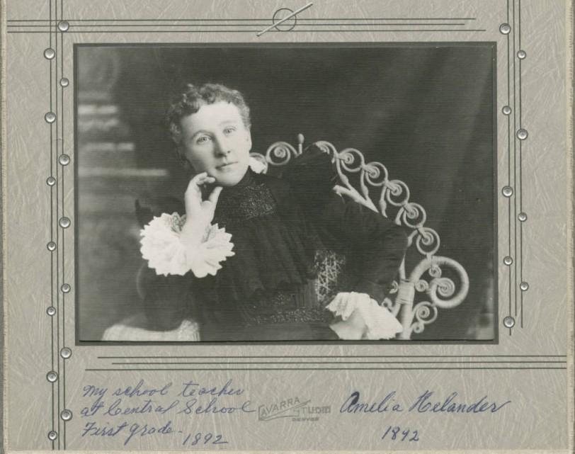 Portrait of Ms. Amelia Helander, teacher at Central Elementary 1892. Courtesy DPL Western History Collection, WH1990
