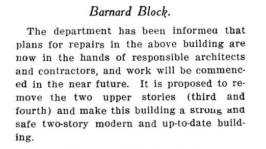Barnard Block Update- Plans for Repairs -from Denver Municipal Facts: 1909 September 4. Courtesy DPL Western History Collection C352.078883 D4373mu