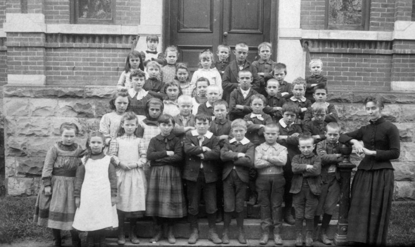 Group portrait of boys, girls and a teacher at Central School in the Lincoln Park neighborhood of Denver, Colorado. Courtesy DPL Western History Collection X-28350