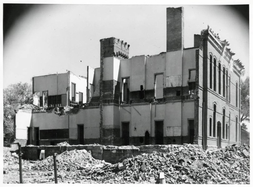 Photograph of the demolition of the old Central School building in Denver, Colorado. 1952 July 7. Courtesy DPL Western History Collection WH 1990