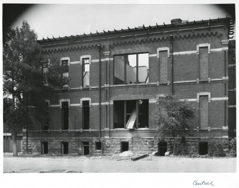 Central School Demolition 1952, Rear of Building #1. Courtesy DPL Western History Collection WH 1990