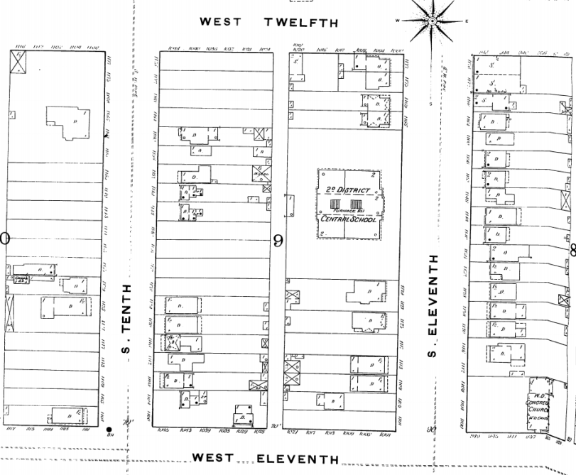 Central School Sanborn Map Denver 1890-1893 vol.1,1890, Sheet 22_a. Courtesy DPL Western History Dept Digital Collection