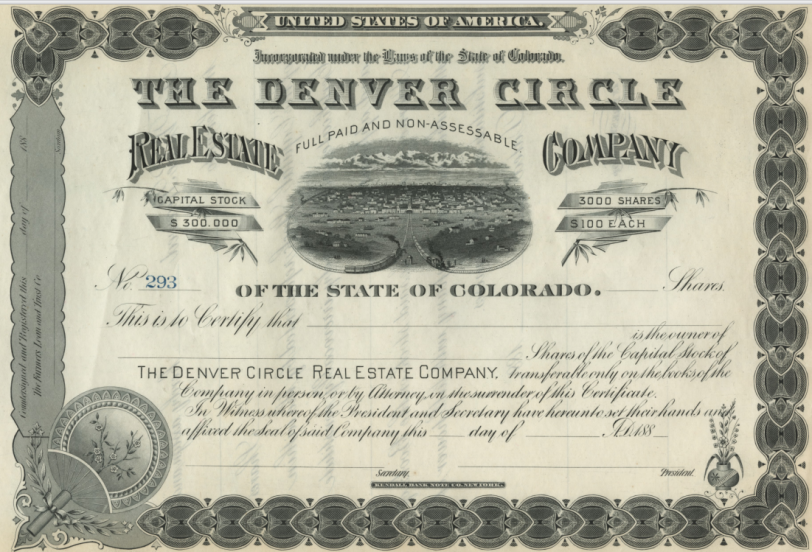 Denver Circle Real Estate Company Stock Certificate. Courtesy DPL Western History Collection WH1503