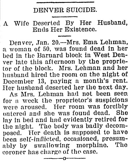 Denver Suicide at 8th and Kalamath's Barnard Block- Aspen Weekly Times 1896 January 25