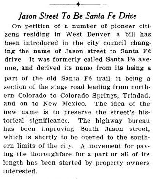 Jason Street to be Santa Fe Drive 1912 Article
