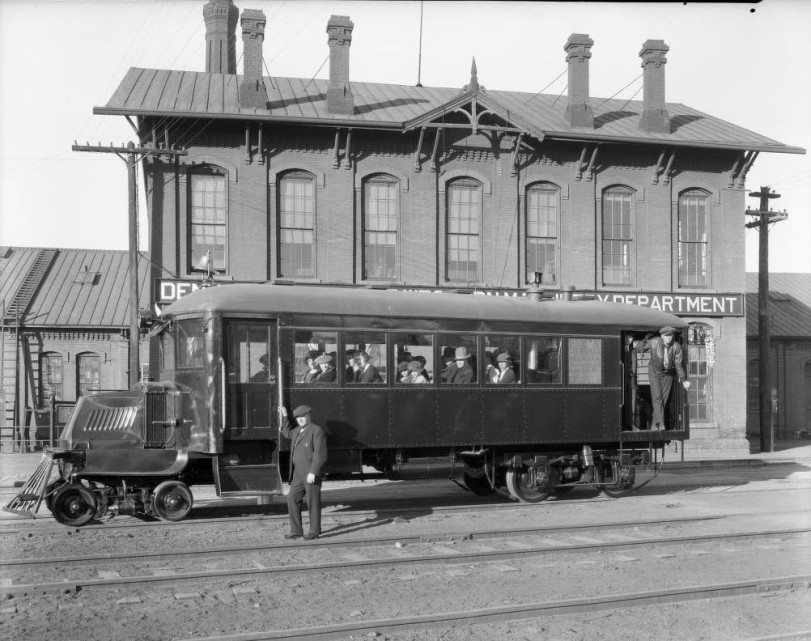 Mack RailBus on trial at D and RGW Burnham Shops. Courtesy DPL Western History Collection GB-8100