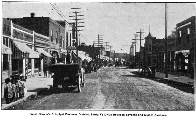 Santa Fe Drive 1913 from Denver Municipal Facts 1913 November 8. Courtesy DPL Western History Collection C352.078883 D4373muX2