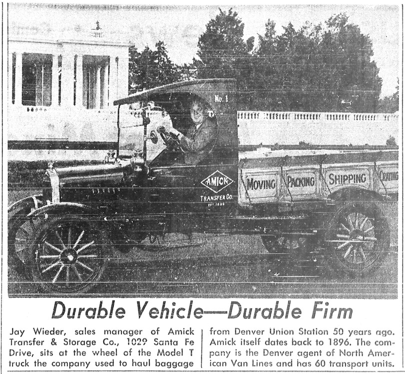 Durable Vehicle-Durable Firm.  An Amick model T-Pick Up truck from the Denver Post, 1970.