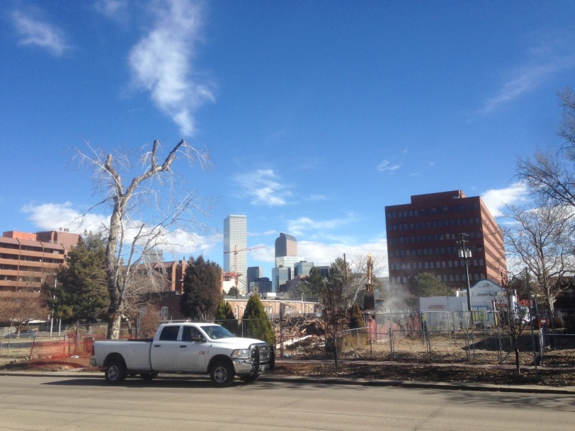 Taken 2015 Feb 10, view of   homes reduced to rubble on Kalamath St, Denver CO