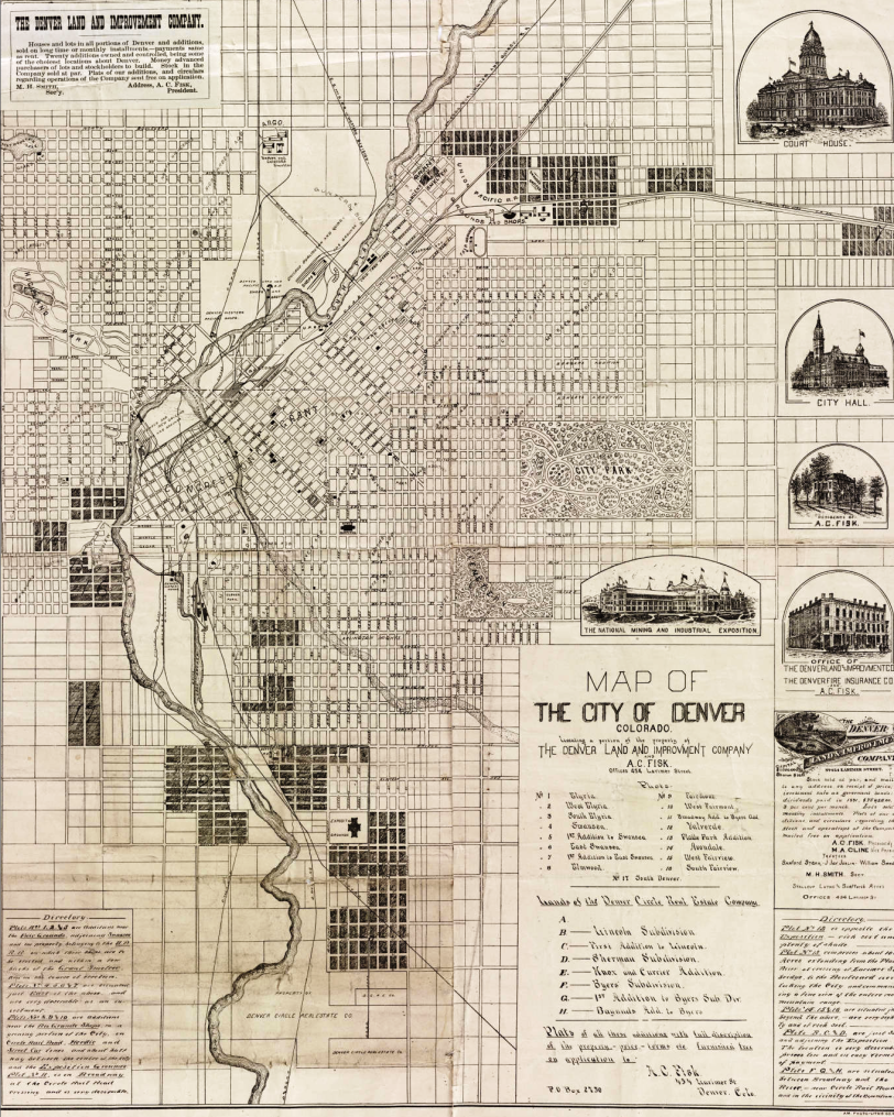 Map of the city of Denver 1882 Denver Circle Real Estate. Courtesy DPL Western History Collection CG4314.D4 1882.F5