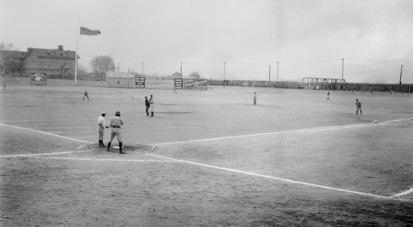"Members of the Denver Bears play baseball at Broadway Park at Broadway and 6th (Sixth) Avenue in Denver, Colorado. Pearl ""Casey"" Barnes is at bat. [1900] Courtesy History Colorado Collection CHS-B1063"