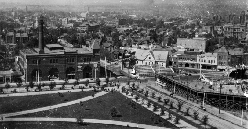 First Broadway Baseball Park from atop Denver Capitol Building, overlooking Colfax and Broadway. Courtesy DPL Western History Collection X-22577