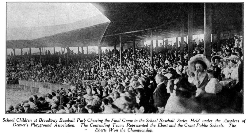 Fans enjoy the School Baseball Series at Broadway Park II. From Denver Municipal Facts 1909 June 19 p12. Courtesy DPL Western History Collection C352.078883 D4373mu.