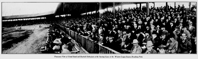 Panorama View of Grand Stand and Baseball Enthusiasts at the Opening Game of the Western League Season, Broadway Park 1910. Courtesy DPL Western History Collection C352.078883 D4373mu