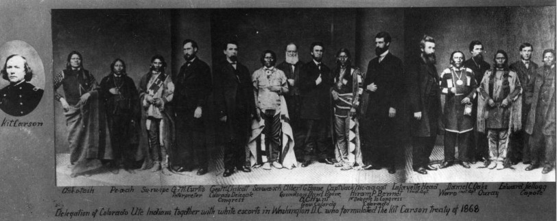 Delegation of Colorado Ute Indians together with white escorts in Washington DC who formulated the Kit Carson Treaty of 1868