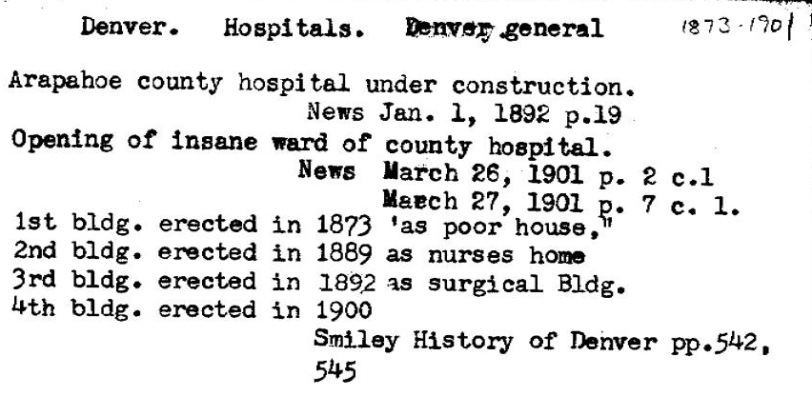 Denver General Hospital Card Catalog Entry