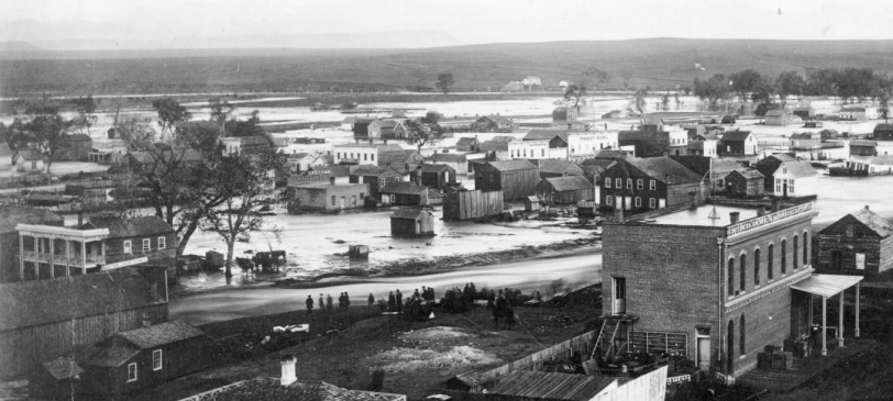 Great flood in Denver May 19 1864- View  West of Cherry Creek